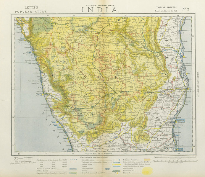 Associate Product BRITISH INDIA SOUTH. Mysore Carnatic Madras. Tea plantations. LETTS 1883 map