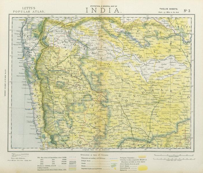 Associate Product WESTERN BRITISH INDIA Maharashtra Bombay Mumbai Pune Goa Railways LETTS 1883 map