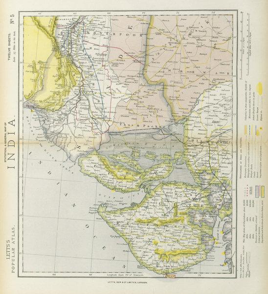 Associate Product NW INDIA & S PAKISTAN. Sindh Gujarat Karachi Hyderabad. Railways. LETTS 1883 map