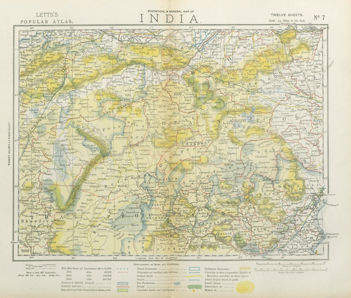Associate Product CENTRAL BRITISH INDIA Bengal Central Provinces Bandelkand. Railways 1883 map