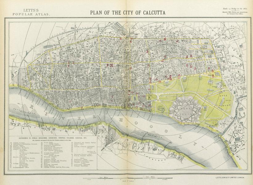 Associate Product CALCUTTA KOLKATA antique town city map plan. Public buildings. LETTS 1883