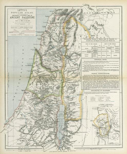 Associate Product ANCIENT PALESTINE Samaria Galilee Pera Judaea. Ancient Jerusalem. LETTS 1883 map
