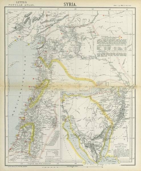 Associate Product LEVANT. Syria Palestine Lebanon. Lighthouses. Inset Sinai Negev. LETTS 1883 map