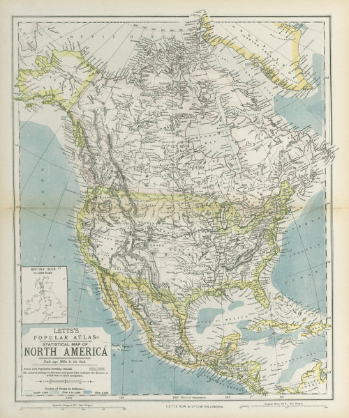 Associate Product NORTH AMERICA showing Union Pacific transcontinental railroad. LETTS 1883 map