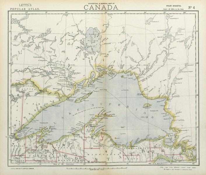 LAKE SUPERIOR. Canada Ontario Michigan. Lighthouses & Railroads. LETTS 1883 map