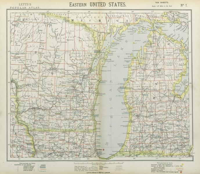 Associate Product LAKE MICHIGAN. Wisconsin Michigan Chicago. Railroads Lighthouses. LETTS 1883 map