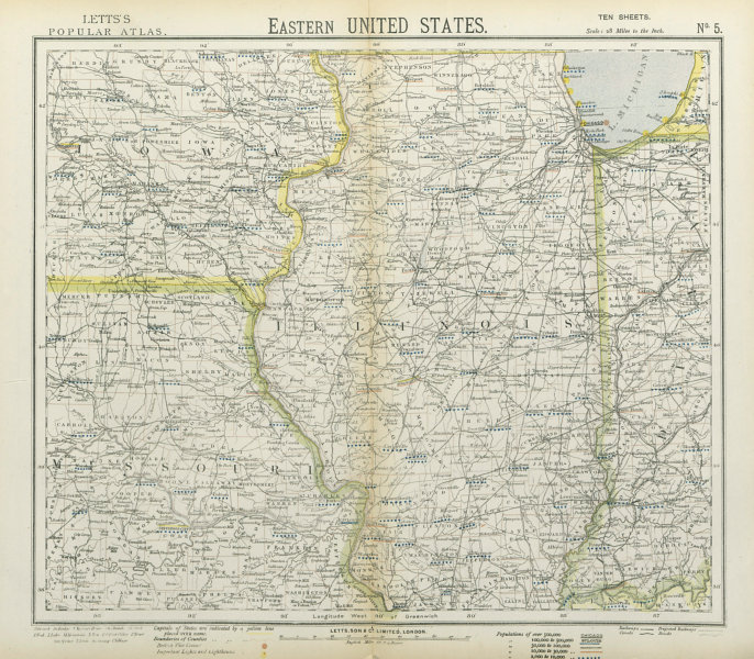 Associate Product US MIDWEST. Missouri Illinois Indiana Iowa Chicago. Railroads. LETTS 1883 map