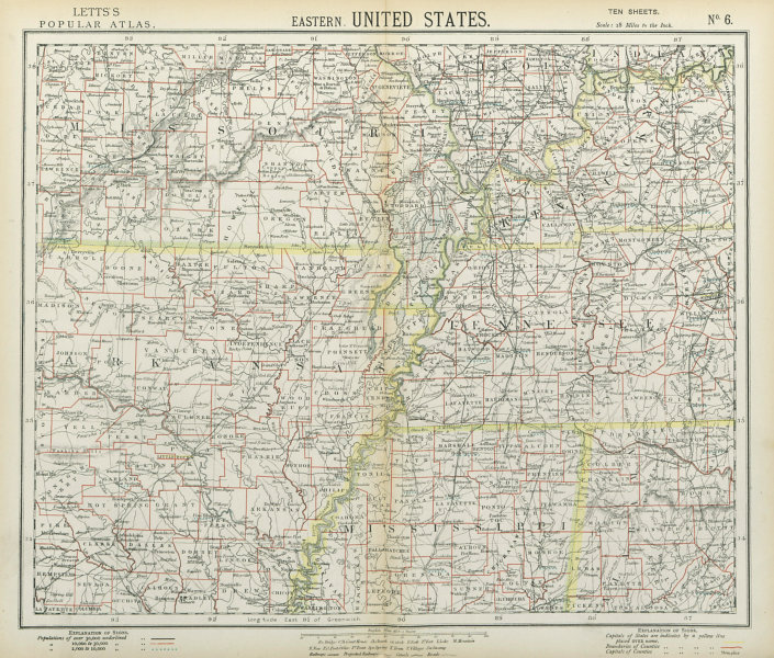 Associate Product SOUTHEASTERN USA. Arkansas Tennessee Missouri MS KY AL Railroads. LETTS 1883 map