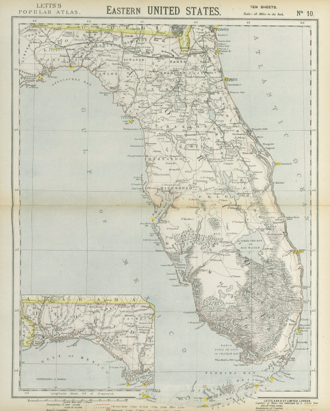 Associate Product FLORIDA railroads lighthouses forts. Miami Tampa Fort Lauderdale. LETTS 1883 map