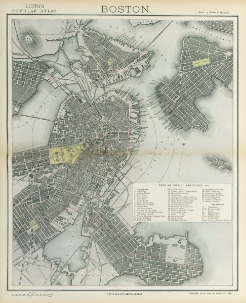 Associate Product BOSTON antique town city map plan. Charlestown. LETTS 1883 old