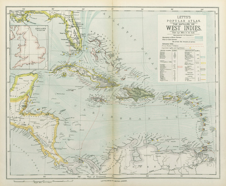 Associate Product WEST INDIES Dutch French Swedish Danish Spanish British. LETTS 1883 old map