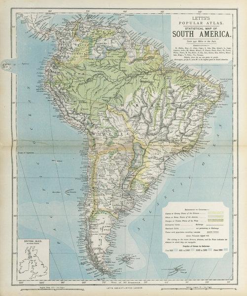 Associate Product SOUTH AMERICA. Amazon rainforest. Pampas Selvas Llanos. LETTS 1883 old map