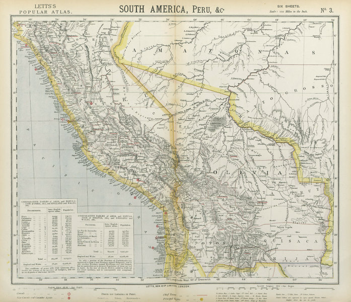Associate Product BOLIVIA & PERU Amazonas Chile. Lighthouses British Consuls. LETTS 1883 old map