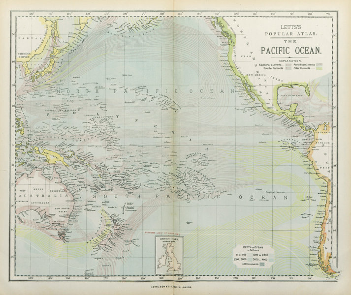 Associate Product PACIFIC OCEAN & ISLANDS. Australasia. Currents. LETTS 1883 old antique map