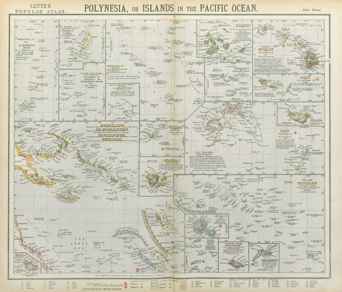 Associate Product PACIFIC ISLANDS Polynesia Hawaii Samoa Fiji Tahiti Galapagos. LETTS 1883 map