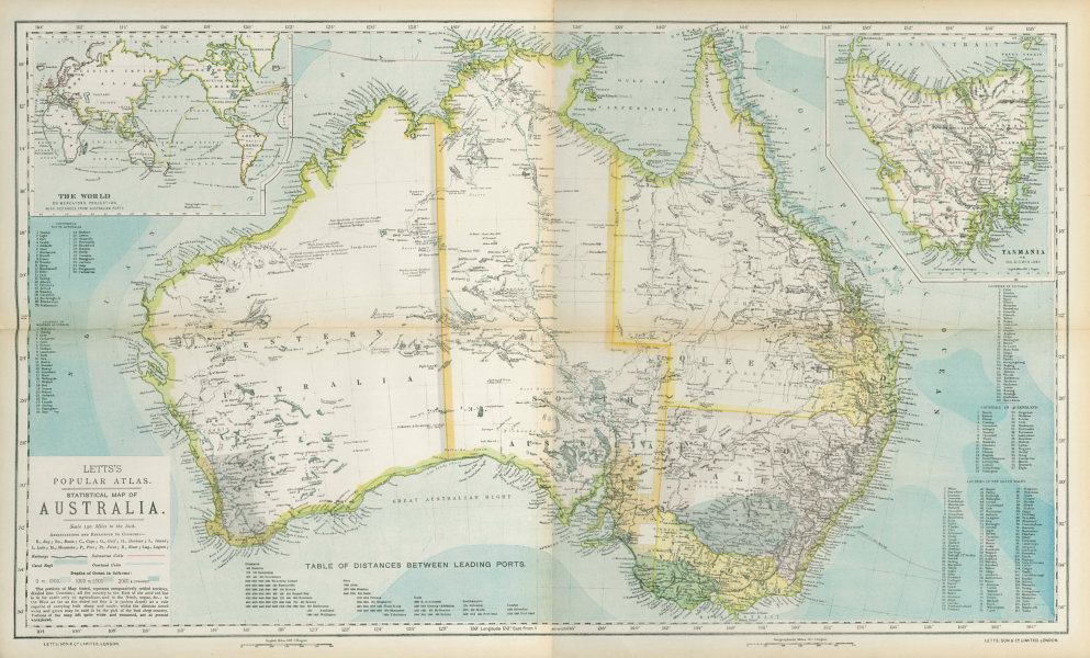 Associate Product AUSTRALIA. White=unexplored. Violet & green=best sheep country. LETTS 1883 map