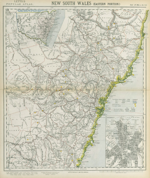 Associate Product NEW SOUTH WALES showing gold mining stations. Sydney city plan. LETTS 1883 map