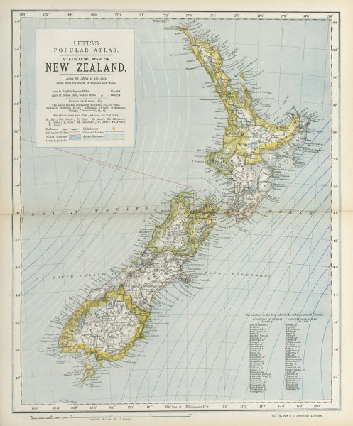 Associate Product NEW ZEALAND Lighthouses railways telegraph cables ocean currents. LETTS 1883 map