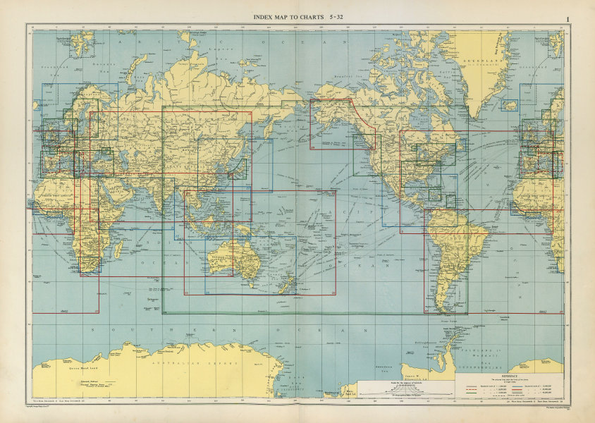 Associate Product WORLD. Index Map To Charts. Large 50x70cm 1952 old vintage plan
