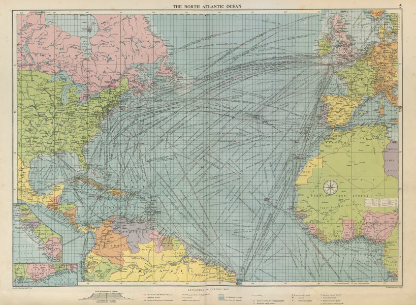 Associate Product North Atlantic Ocean sea chart. Ports lighthouses mail routes. LARGE 1952 map