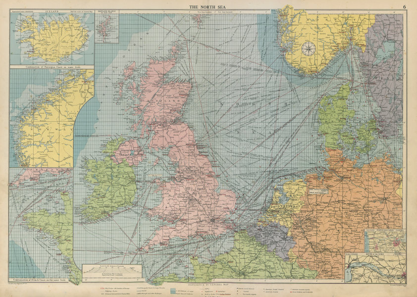 Associate Product North Sea sea chart. Ports lighthouses mail routes. UK Norway &c LARGE 1952 map