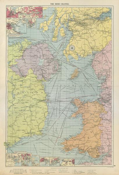 Associate Product Irish Sea sea chart. Ports lighthouses mail routes dockyards. LARGE 1952 map