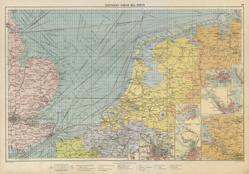 Associate Product Southern North Sea ports chart. lighthouses mail routes. UK NL. LARGE 1952 map