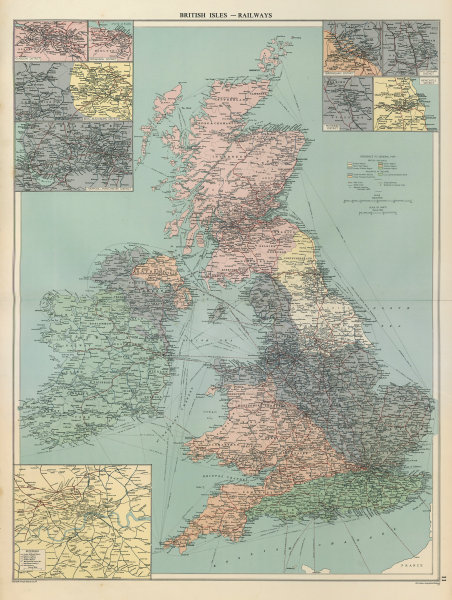 Associate Product British Isles Railways companies regions. Ireland. British Rail. LARGE 1952 map