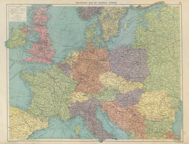 Associate Product Transport Map of Central Europe. Railways mail routes. LARGE 1952 old