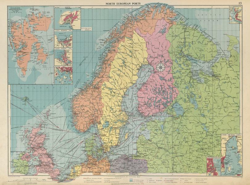 Associate Product Scandinavia Russia sea chart. Ports lighthouses. Arctic Ocean Bothnia 1952 map