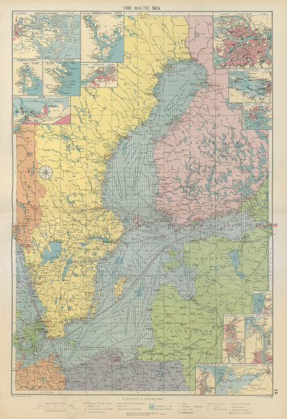 Associate Product Baltic Sea sea chart. Ports lighthouses mail routes dockyards. LARGE 1952 map