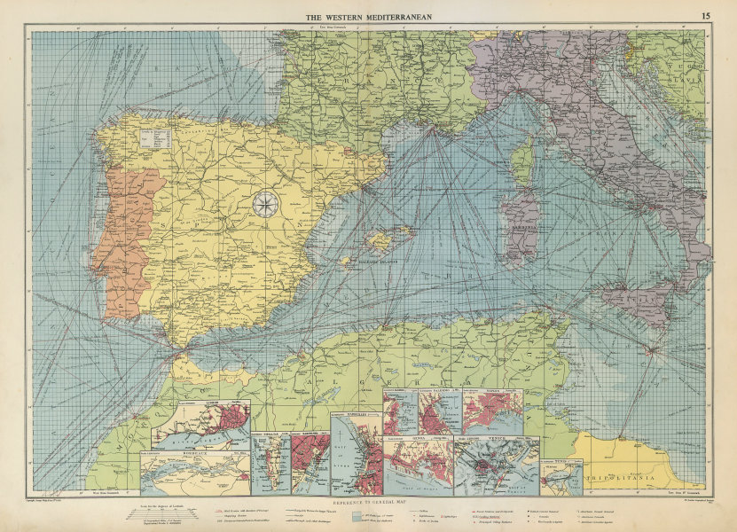 Associate Product Western Mediterranean sea chart. Ports lighthouses mail routes. LARGE 1952 map