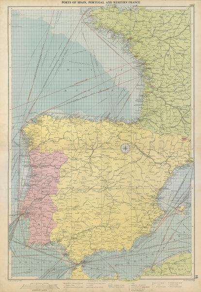 Associate Product Spain, Portugal & Western France ports sea chart. Bordeaux Lisbon LARGE 1952 map