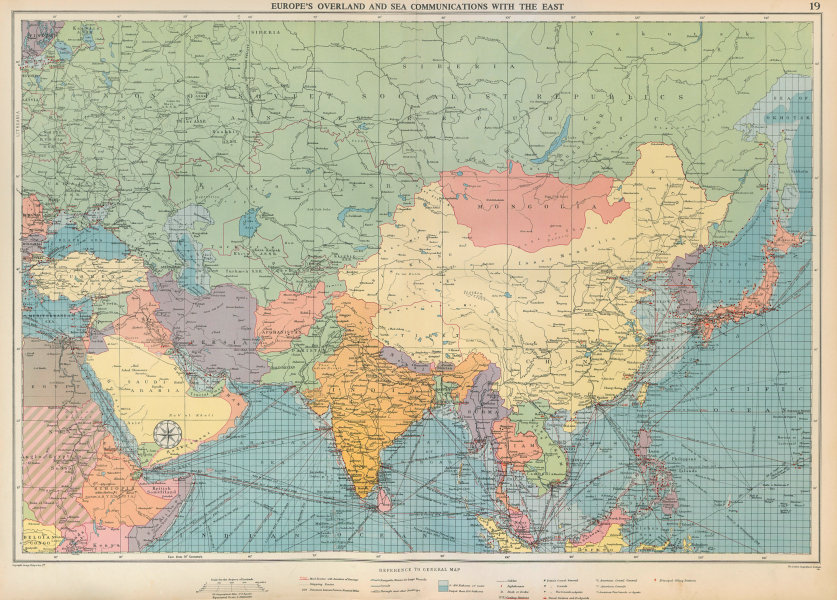 Associate Product Europe's Overland & Sea Communications with Asia. Chart. LARGE 1952 old map