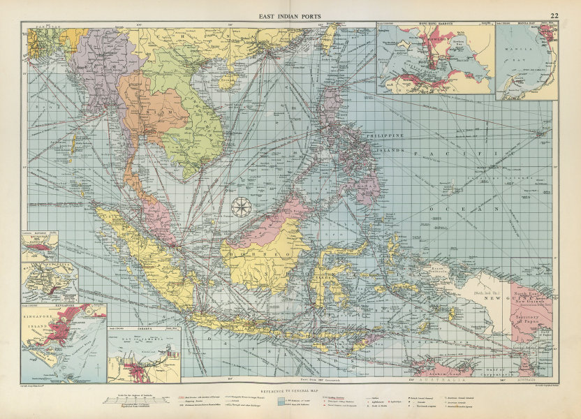 Associate Product East Indies Ports sea chart. lighthouses mail routes. Indochina. LARGE 1952 map