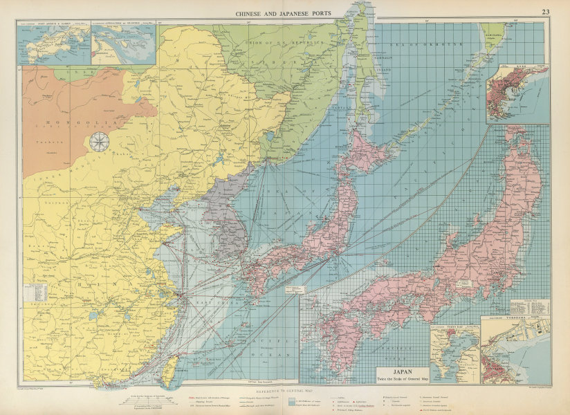 Associate Product Chinese & Japanese Ports sea chart. lighthouses mail routes. LARGE 1952 map
