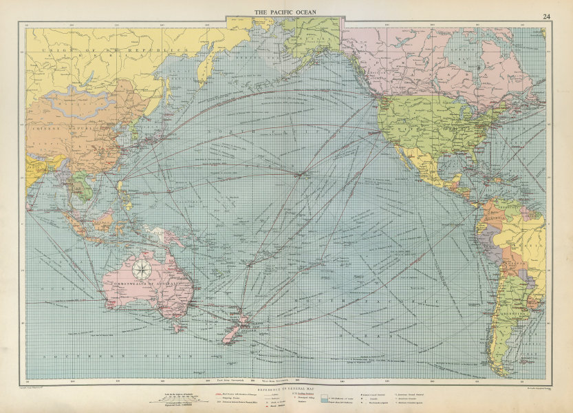 Associate Product Pacific Ocean sea chart. Ports lighthouses mail routes dockyards LARGE 1952 map