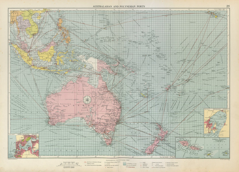 Associate Product Australasian Polynesian Ports sea chart. lighthouses mail routes LARGE 1952 map