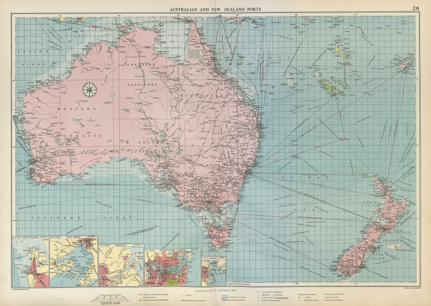 Associate Product Australian & New Zealand ports chart lighthouses mail route LARGE 1952 old map