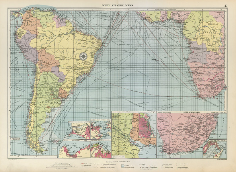 Associate Product South Atlantic Ocean sea chart. Ports lighthouses mail routes. LARGE 1952 map