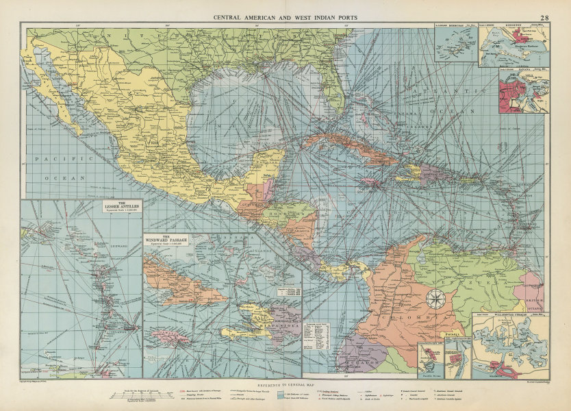 Associate Product Central America Caribbean Gulf of Mexico chart Ports lighthouses LARGE 1952 map