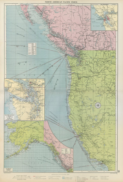 Associate Product US Canada North America Pacific Ports sea chart Vancouver SF LA LARGE 1952 map
