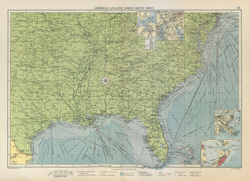 Associate Product US Atlantic & Gulf Coast Ports sea chart lighthouses mail routes LARGE 1952 map