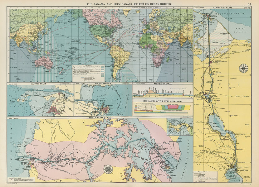 Associate Product PANAMA & SUEZ CANALS effect on Ocean Routes. Maps profiles. LARGE 1952 old