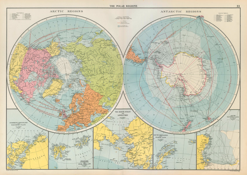 Associate Product Polar Regions. Arctic/Antarctic sea chart. Steamer routes. LARGE 1952 old map