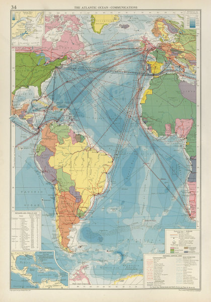 Associate Product Atlantic Ocean. Cables Wireless Stations Land visibility Shipping lines 1952 map