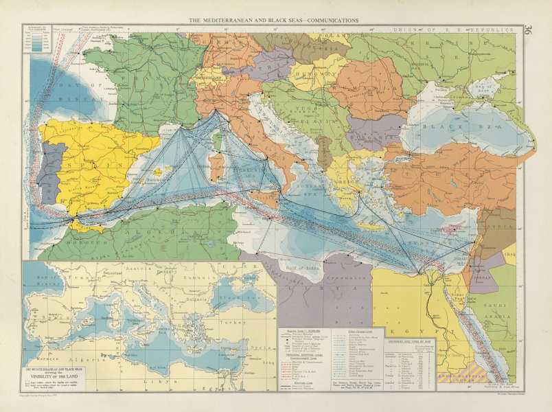 Associate Product Mediterranean & Black Seas. Cables. Land visibility. Shipping lines 1952 map