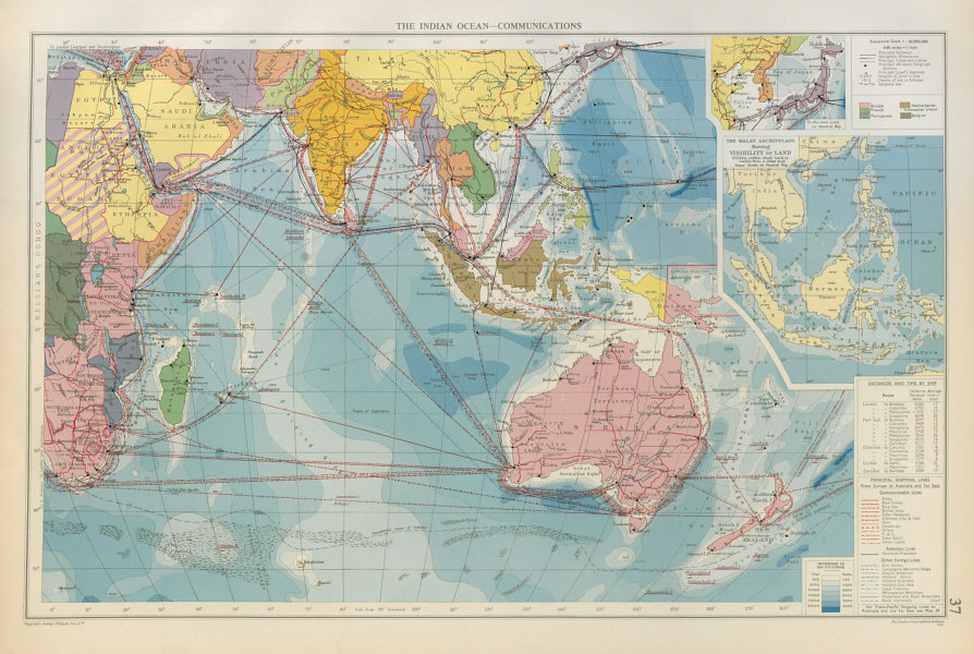 Associate Product Indian Ocean. Cables Wireless Stations. Land visibility. Shipping lines 1952 map