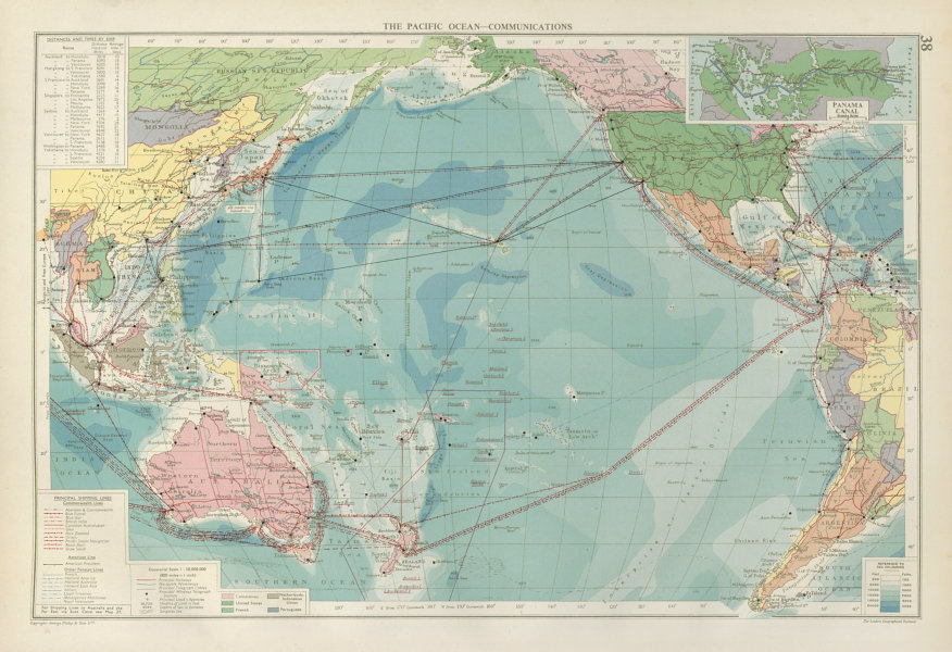 Associate Product Pacific Ocean. Cables & Wireless Stations. Shipping lines companies 1952 map