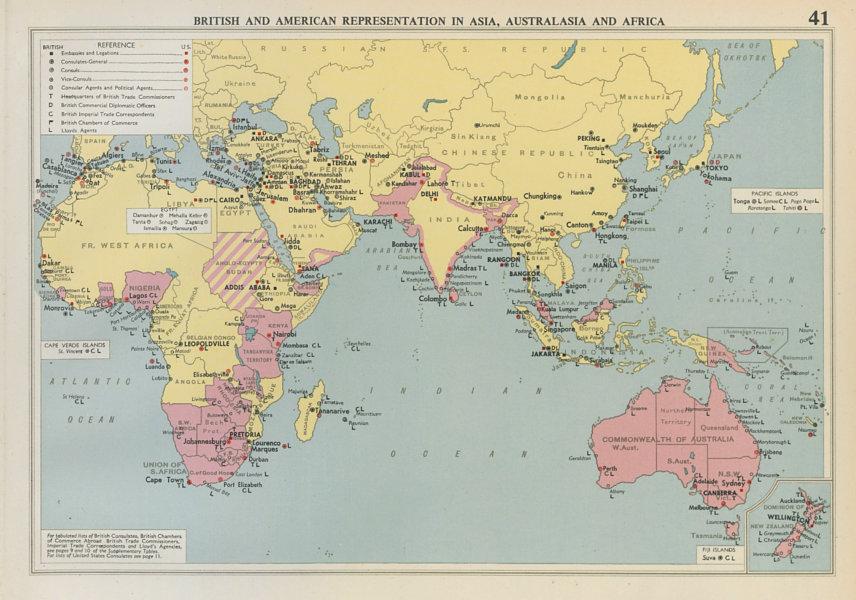 Associate Product British & American Diplomatic Representation Asia, Australasia & Africa 1952 map